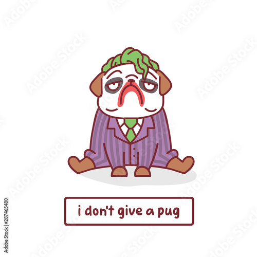 Photo cartoon pug dog character in scary clown costume with vector illustration with h