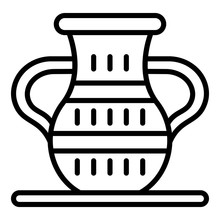 Egyptian Vase Icon. Outline Egyptian Vase Vector Icon For Web Design Isolated On White Background