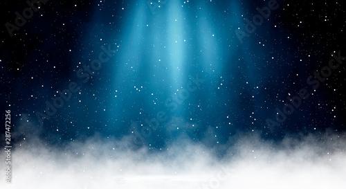 Fototapeta Empty dark, winter scene with snowflakes, winter dark background. Abstract snow, blizzard. Abstract light, rays, snow. Winter night. obraz