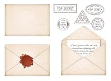Vintage Envelope. Letter With Wax Seal And Stamps. Old Grunge Paper, Stamps Top Secret. Old Mail Delivery. Retro Style. Isolated. Vector Illustration