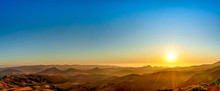 Panoramic Sunset Over Mountains, Ocean