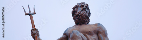 The mighty god of the sea and oceans Neptune (Poseidon) The ancient statue Canvas Print
