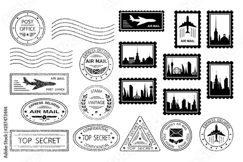 Fotografía  Postal stamps and postmarks