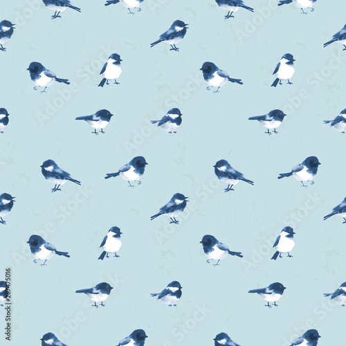 Seamless pattern with little  birds hand drawn with ink on blue background Canvas Print
