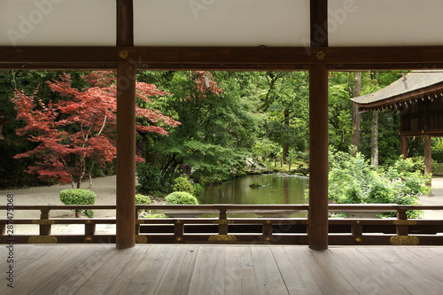 Spoed Foto op Canvas Bedehuis Beautiful japanese garden in Kyoto (Kamigamo shrine)