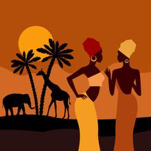Tropical Landscape. Beautiful Black Woman. African Savannah