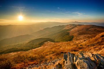Landscape of Bieszczady mountains in autumn