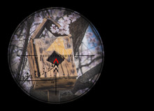 Under The Gun Of A Sniper Bird Nursery Made Of Wood In The Garden.