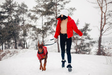 Cute Girl Walking In A Winter Park. Woman In A Red Jacket. Lady With A Dog