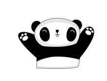Panda Waving To Greet  , Carto...