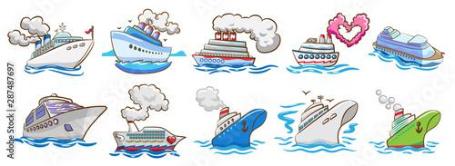 Fotografía  cruise ship vector set clipart