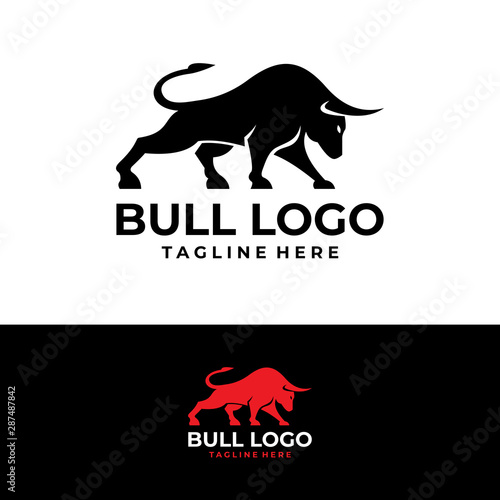 Leinwand Poster bull logo icon vector isolated