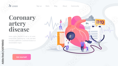 Circulatory System Complications Cardiologists Studying Human Organ Heart Disease Ischemic Heart Disease Coronary Artery Disease Concept Website Homepage Header Landing Web Page Template Buy This Stock Vector And Explore Similar Vectors
