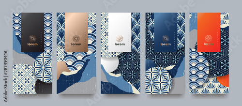 Vector set packaging templates japanese of nature luxury or premium products.logo design with trendy linear style.voucher, flyer, brochure.Menu book cover japan style vector illustration. - 287490446