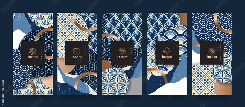 Fototapeta Vector set packaging templates japanese of nature luxury or premium products.logo design with trendy linear style.voucher, flyer, brochure.Menu book cover japan style vector illustration.