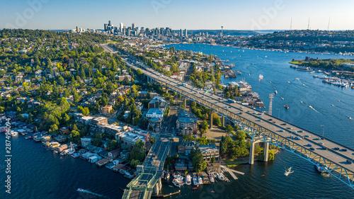 Fototapeta Aerial footage of the Seattle Skyline obraz