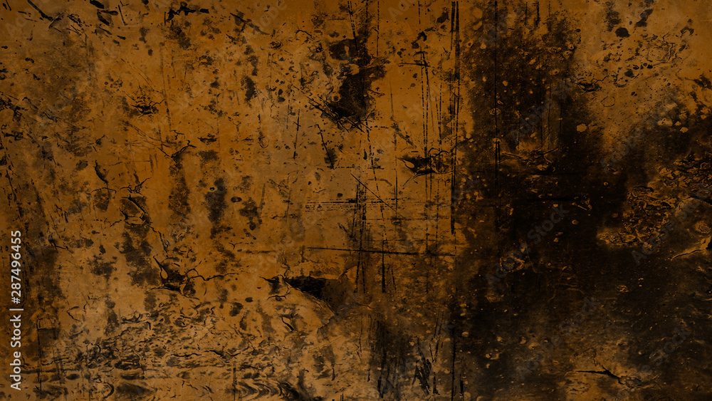 Fototapeta Vintage scratched grunge overlays on isolated brown background space for text.
