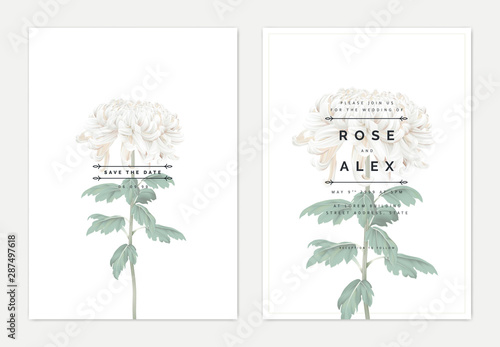 Minimalist floral wedding invitation card template design, white Chrysanthemum m Fototapet