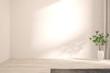 canvas print picture Empty room in white color. Scandinavian interior design. 3D illustration