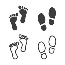 Set Of Foot Print Icons