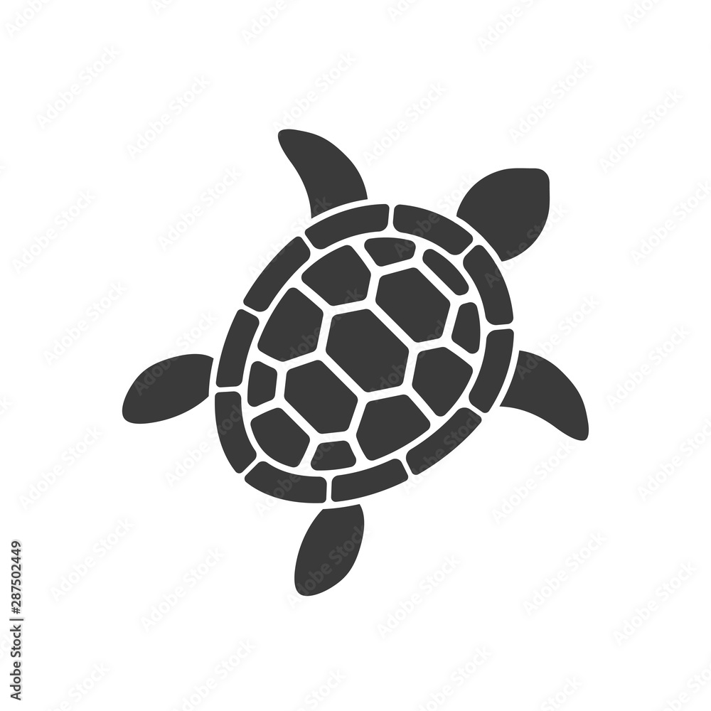 Fototapety, obrazy: turtle vector silhouette on white background