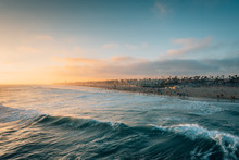 Sunset Over The Beach From The Pier In Huntington Beach, Orange County, California