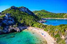 Porto Timoni Beach At Afionas Is A Paradise Double Beach With Crystal Clear Azure Water In Corfu, Ionian Island, Greece, Europe