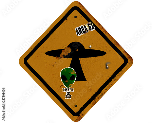 Obraz na plátne Area 51 Caution Sign With UFO and Alien Stickers