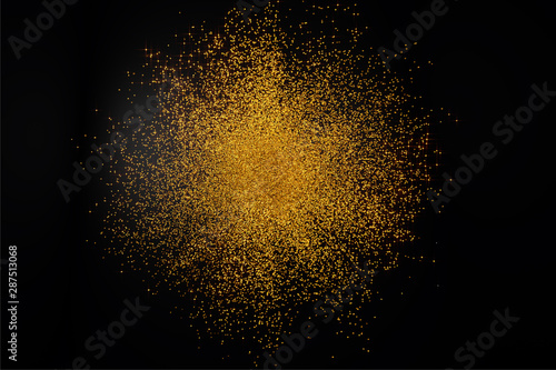 3D Render of abstract falling golden parts background. Flying particles and elegant Gold background for Business Presentations, Gift cards, Universe Jewelry Design.