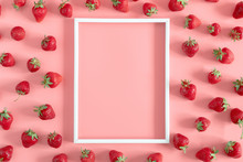 Strawberries On Pink Backgroun...