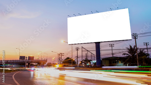 Fotomural  billboard blank for outdoor advertising poster or blank billboard at night time for advertisement
