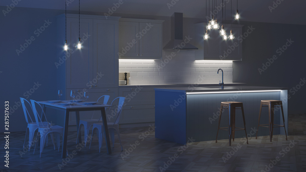 Fototapeta The interior of the kitchen in a private house. White kitchen with a blue island. Night. Evening lighting. 3D rendering.
