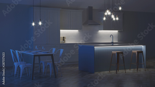 Obraz The interior of the kitchen in a private house. White kitchen with a blue island. Night. Evening lighting. 3D rendering. - fototapety do salonu