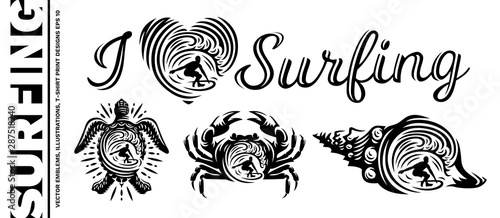 Slika na platnu Surfing vector emblems, illustrations, t-shirt design on white background