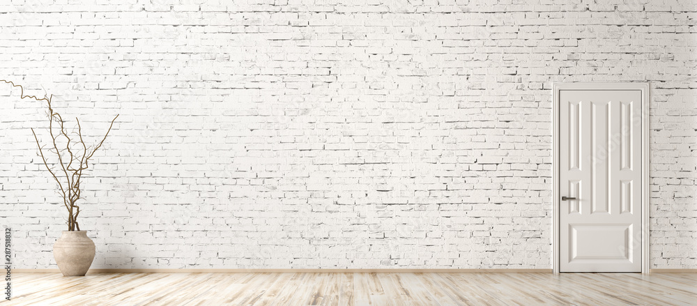 Fototapeta Interior background of room with brick wall, vase with branch and door 3d rendering