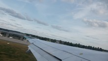 Time-lapse Video Of The Plane Takeoff From Düsseldorf DUS Airport, View From The Side Window Above Wing. 4K