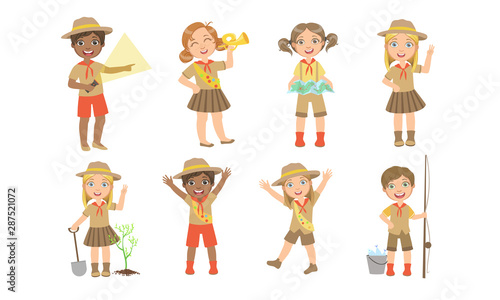 Fotografie, Tablou Cute Kids Scouts Camping Set, Cute Boys and Girls in Scout Costumes with Hiking