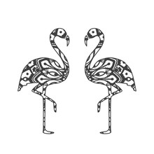 Abstract Ornamental Flamingo Shape. Vector Bird For Your Design.