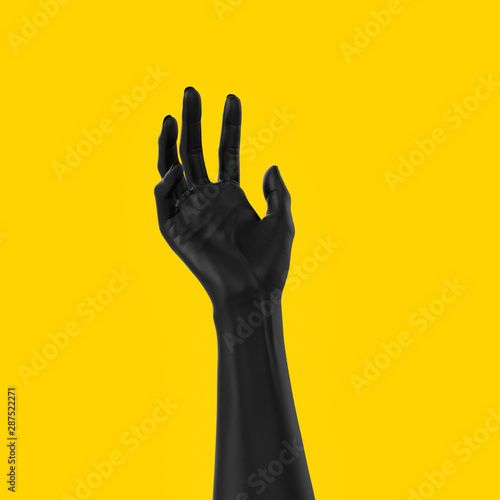 Foto Black open hand sculpture giving, holding, take or showing something gesture iso