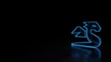 3d Glowing Wireframe Symbol Of Symbol Of Dragon Isolated On Black Background