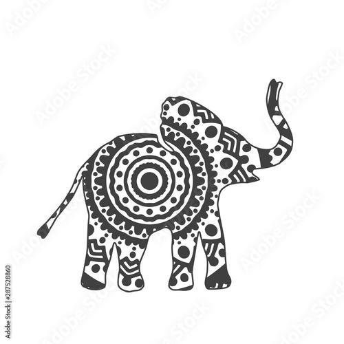 Pinturas sobre lienzo  Abstract Ornamental Elephant Shape