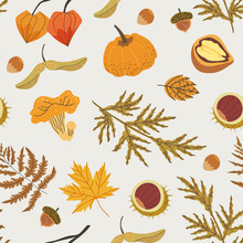 Seamless Pattern Decorated With Floral Elements: Chestnut, Girolle, Sandthorn, Cape Gooseberry, Fern, Pumpkin. Autumn Forest Illustration For Textile, Fabric, Wrapping Paper Print