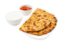 Indian Traditional Breakfast Dish Aloo Paratha Is A Potato Stuffed Flatbread Served With Fresh Curd And Pickle
