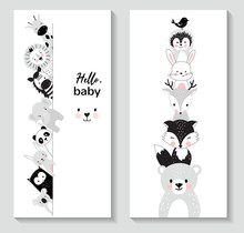 Vertical Banner Set With Cute Animals,  Vector Illustration For Nursery Design, Posters For Baby Room, Greeting Cards, Kids And Baby T-shirts And Wear, Hand Drawn Nursery Illustration