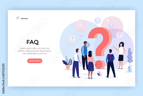 Concept illustration Frequently asked questions, people around question marks, p Wallpaper Mural