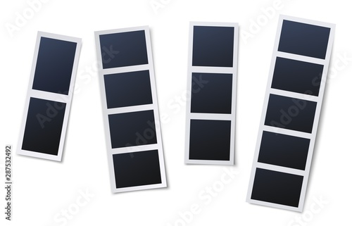 Obraz Photo booth picture frames. Vintage snapshots, instant photos and photographs strips. Photo box snapshot, photography picture card mockup isolated vector illustration icons set - fototapety do salonu