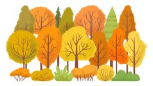 Autumn Forest Trees. Autumnal Garden, Yellow Tree Abstract. October Golden Leaves Season, September Wood Foliage Gold Leaves Cartoon Isolated Vector Illustration