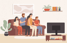 Family Watching Television Together. Happy People Watch Tv In Living Room, Young Family Watching Movie At Home. Parents And Childrens Watching Show Channel, Colorful Vector Illustration