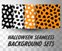Set Of Seamless Pattern Ghosts With Different Colour Background