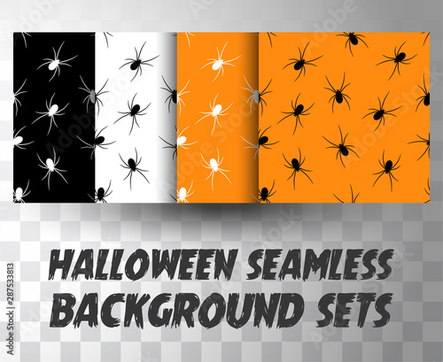 Photo Set of seamless pattern spiders with different colour background
